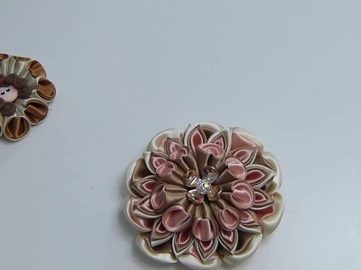 FLORES KANZASHI, FLOR CONO EN TELA., RIBBONS FLOWERS, DIY TUTORIAL FLOWERS-