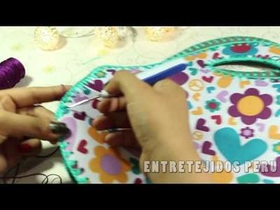 TEJIDO a crochet  EN CORTE DE LONCHERA NECESER