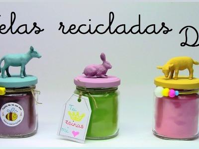 Velas recicladas diy : Recycled candle diy. manualidades