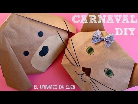 DIY CARNAVAL, Cómo Hacer un Sombrero Máscara de Perro o Gato para Niños y Adultos, Origami