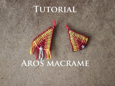 Aros en macrame modelo 24 | aros de hilo | earrings macrame