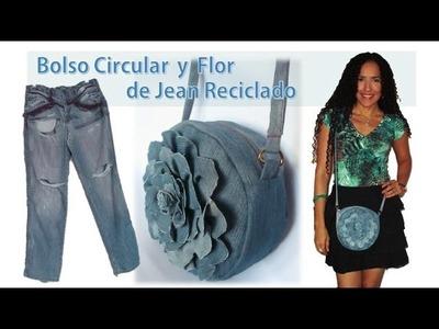 Bolso Circular y Flor - de Jean Reciclado - Tutorial de SANDRA PADILLA
