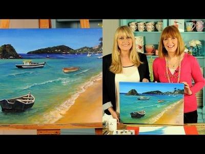 Como Pintar un Paisaje de Playa en Acrilico - Liliana Ziliotto