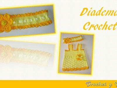Diadema con cinta y flor tejida a crochet - ganchillo