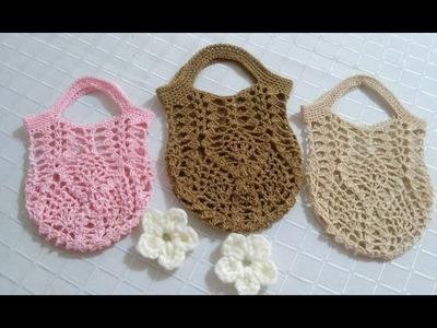Mini bolsa en crochet  puntada de piñas