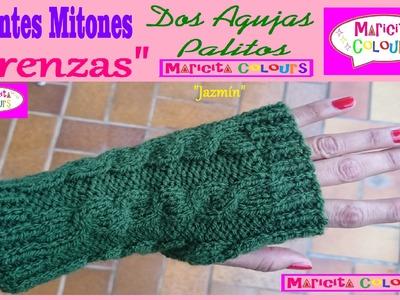 "Mitones Guantes ""Jazmín"" con TRENZAS  Dos Agujas Palitos Tutorial por Maricita Colours"
