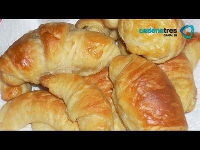 Receta para preparar cuernitos. Receta de cuernitos. Pan tradicional. Cuernitos tradicionales