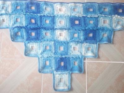 Shawl light blue crochet
