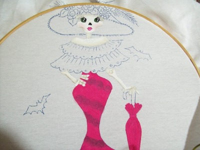 108.- Como pintar una catrina parte 1 Pintura Textil . Iztac Madrigal