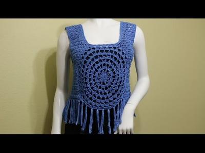 Blusa, Blusa Cuadro dos Colores Crochet, Como tejer una blusa al ...