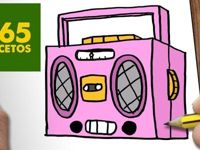 COMO DIBUJAR RADIO CASSETTE KAWAII PASO A PASO - Dibujos kawaii faciles - draw a RADIO CASSETTE
