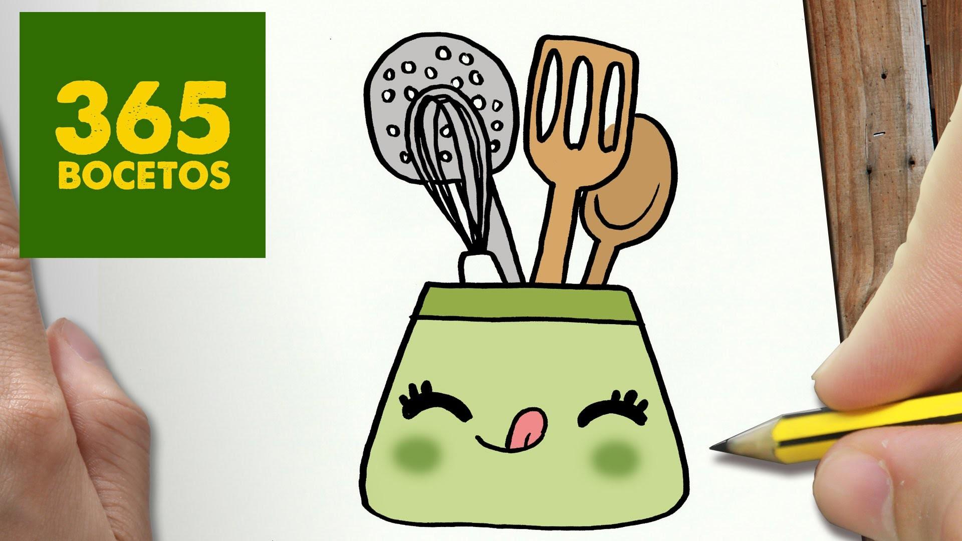 como dibujar utiles de cocina kawaii paso a paso dibujos