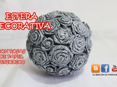 ESFERA DECORATIVA CON ROSAS DE PAPEL PERIODICO -  Decorative sphere with pink newsprint