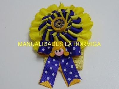 Flor Cono Facil, Balaca para niñas decorada con flores,  flor doble uso en cinta,