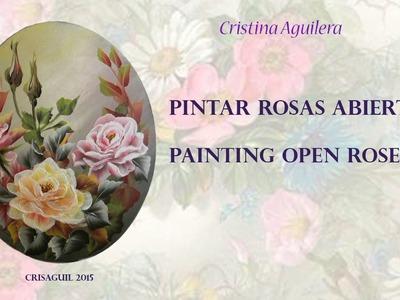 Pintar rosas abiertas. Painting open rose one-stroke