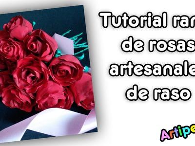 Rosas artesanales con tela de raso (Handmade roses bouquet)