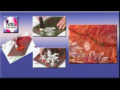 Tecnica mixta con pintura, stencil y decoupage