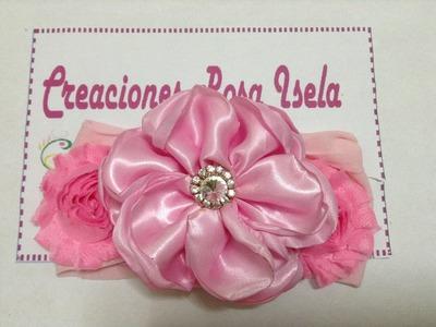 Tiara con flor de satin y flores prefabricadas VIDEO No. 212