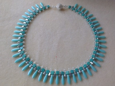 COLLAR PLATA Y VERDE TURQUESA-Turquoise and silver necklace