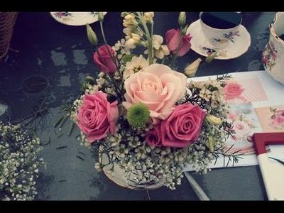 Como hacer centro de mesa manualidad flores de papel lindo y fácil