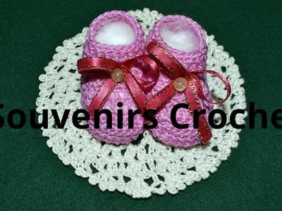 Souvenirs Escarpines en tejido crochet tutorial paso a paso.