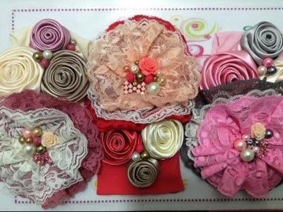 Tiara con flores de listón satinado                 VIDEO No. 230