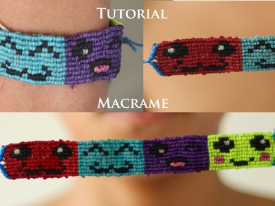 Tutorial pulsera macrame de emoticones | pulseras de hilo | patrones alpha