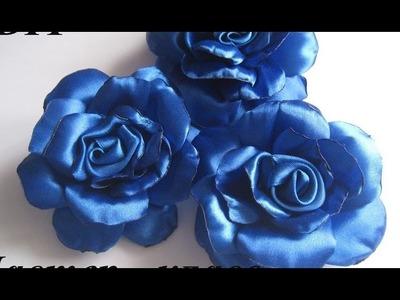 Cómo hacer una rosa de una cinta de raso -  kanzashi flower tutorial