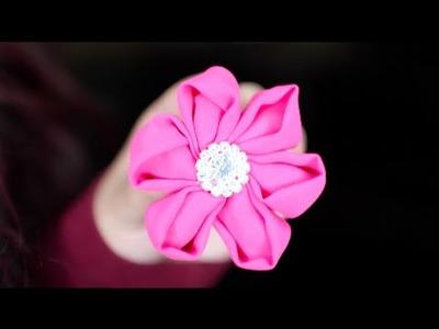 Flores Kanzashi De Tela Con Moldes, Reseña, Moños Para Niñas | Cabello