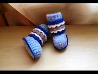 Zapatitos bebe tejidos en dos agujas parte 1