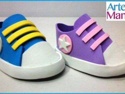 Zapatos hechos en Foami o Goma Eva Para Baby Shower
