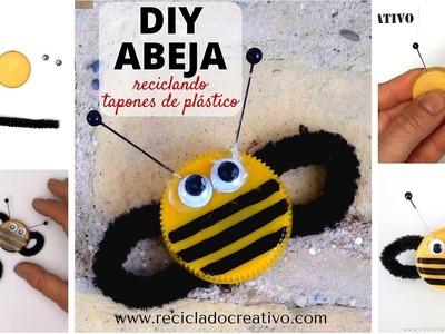 #1 ABEJA. Manualidad para niños con tapones de botellas de plástico: DIY