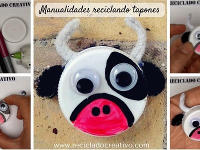 #5 Vaca Manualidades con niños con tapones de plastico reciclaje