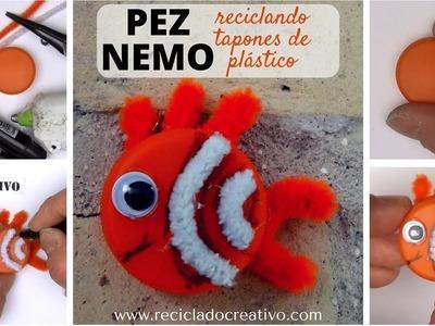 #4 Pez Nemo Manualidades para niños con tapones de plastico reciclaje