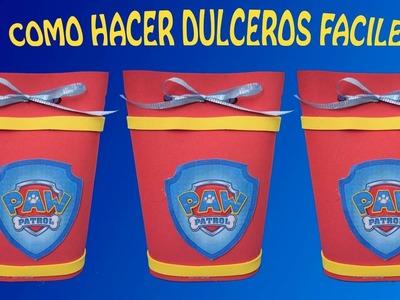 COMO HACER DULCERO PATRULLA CANINA. PAW PATRO.patrulla de cachorros