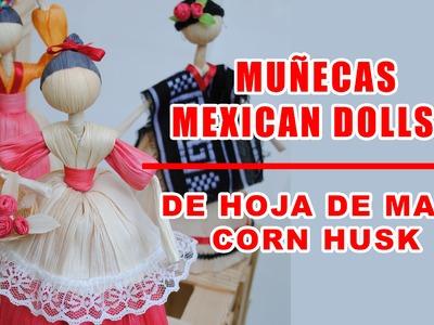 Hoja de maiz muñecas muestra.Corn husk doll.hoja de totomoxtle