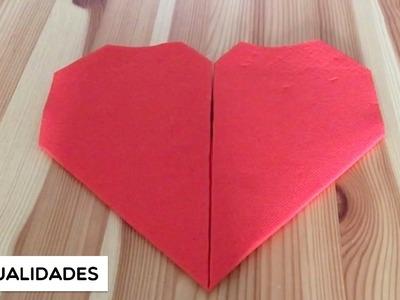Ideas para doblar servilletas para San Valentín