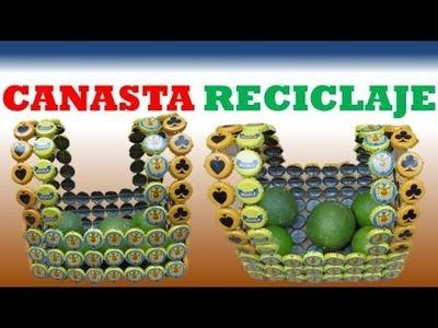 MANUALIDADES. Como Hacer una Canasta de tapas recicladas. RECICLAJE