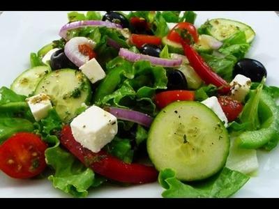 Receta facil Ensalada Griega, riquisima y saludable, tutorial de cocina.