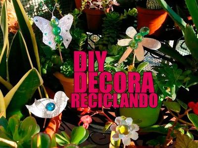 Reciclaje creativo: Pinchos para macetas o jardín con latas de refresco