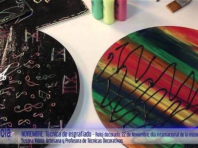 Artesanías - Esgrafiado como textura. Decorá relojes u otros objetos, utilizando Plasticola