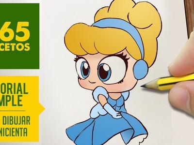 COMO DIBUJAR A CENICIENTA  : Dibujar princesas disney en español - Dibujos Kawaii faciles.