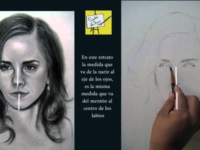 Cómo dibujar un retrato realista ( parte 1 ) con Carbón - Emma Watson - proporciones