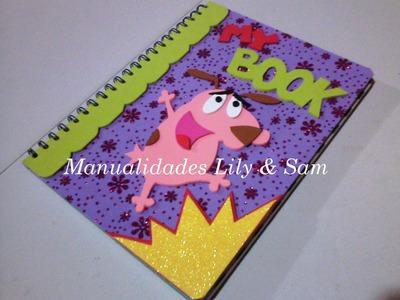 Cuaderno argollado decorado con Foami (Goma Eva)