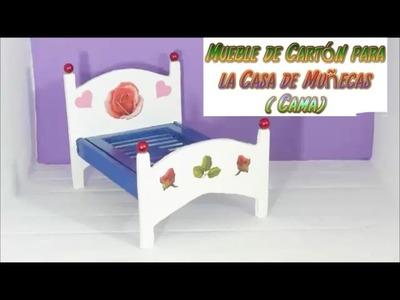 Muebles con Cartón para casas de muñecas, tutorial de una ( Cama ). MAnualidades baratas, Diy