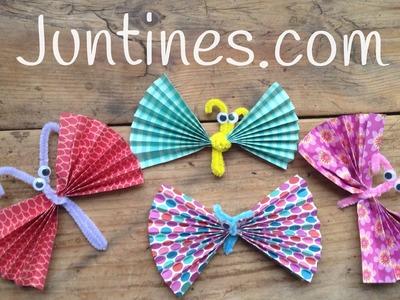 Origami fácil para niños: mariposas hechas con papel y limpiapipas