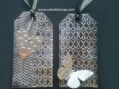 Tags metálicas con foil. Metal foil tags. Scrapbook.