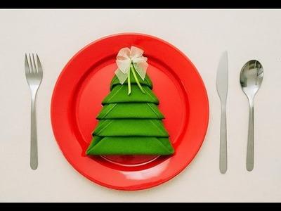 Cómo doblar servilletas y hacer un árbol de Navidad - Servilleta de Navidad
