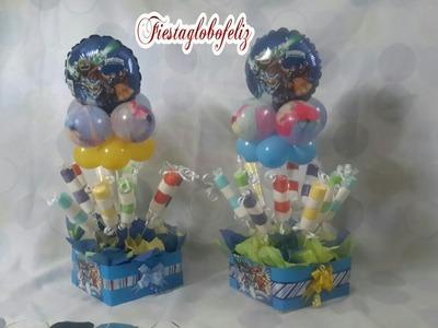 Como hacer un centro de mesa  de skylanders con globos_ centerpiece of skylanders with balloons