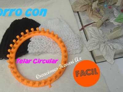 Gorro con Telar Circular Muy Fácil.How to Knit a  Hat on a Round Loom - BEGINNER